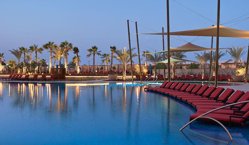 The Westin Abu Dhabi Golf Resort Spa Main Recreation Pool At Night
